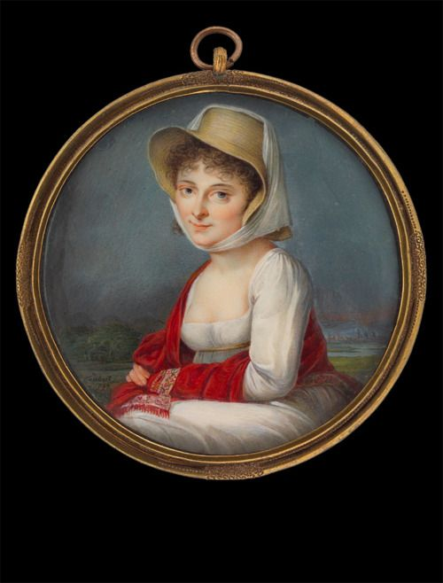 Lady in white gown with red shawl and straw hat by Gustav Friedrich Amalius Taubert, 1797