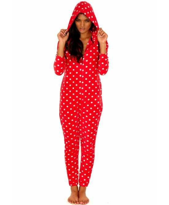 Red polkadot #onesie for adult women. Relaxed fit, comfy, adult onesie that features polka dots and the hood. $49.98