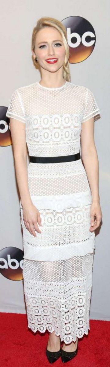 Who made Johanna Braddy's short sleeve white lace dress?