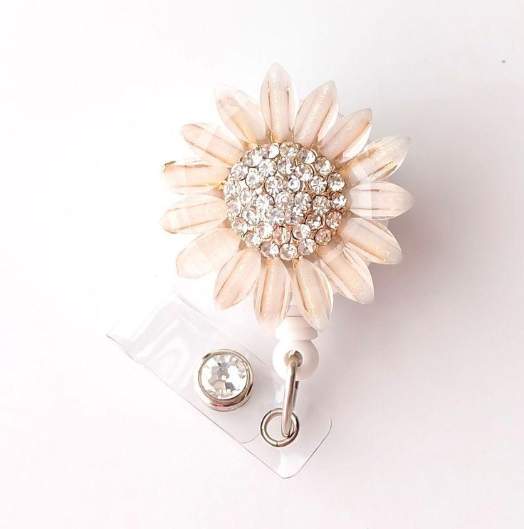 Gold Sunflower Bling - Pretty Badge Holder - Bling Badge Reel - Stylish ID Badge Clip - Nurse Jewelry - Teacher Gift - RN Badge BadgeBlooms by BadgeBlooms on Etsy https://www.etsy.com/listing/194478972/gold-sunflower-bling-pretty-badge-holder