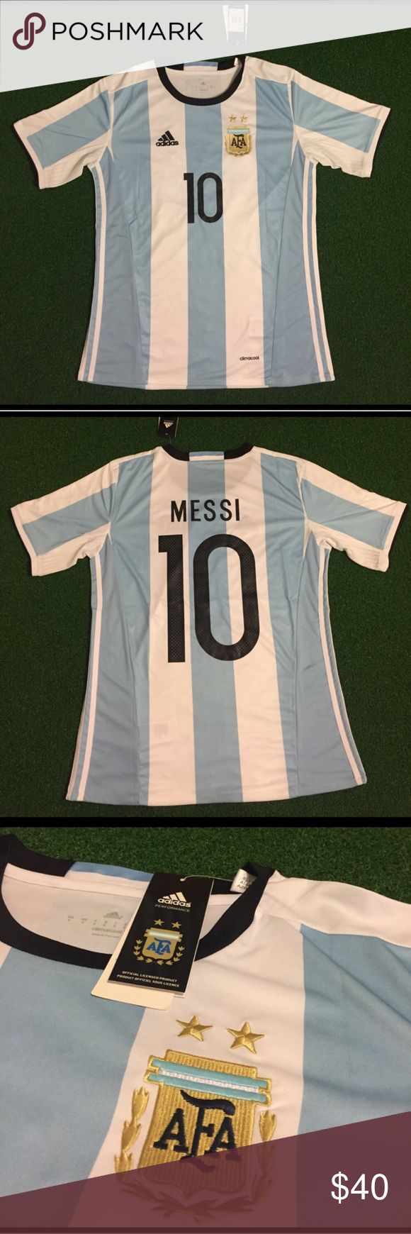 MESSI Argentina Soccer Jersey Short Sleeve Home I have men's adult sizes: small, medium, large, extra large (XL) ...Brand new with tags. Fast shipping. White and blue 2016 LIONEL MESSI #10 Argentina soccer jersey short sleeve. I have other jerseys available and socks and shorts as well, just ask! Tags: uniform, top, Futbol, kit, Fcb, football Shirts Tees - Short Sleeve