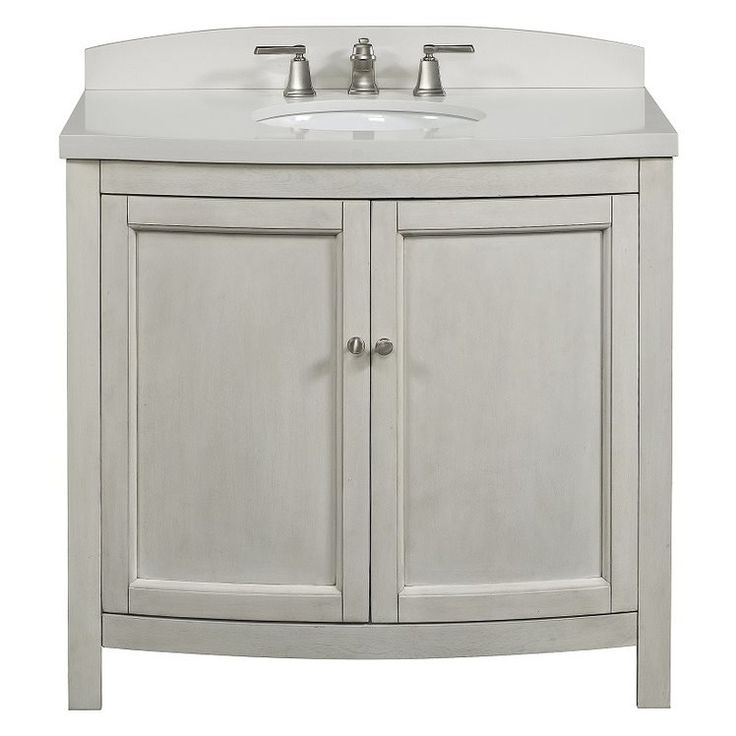 Allen Roth Moravia Antique White Undermount Bathroom Vanity With Engineered Stone Top 36 In X