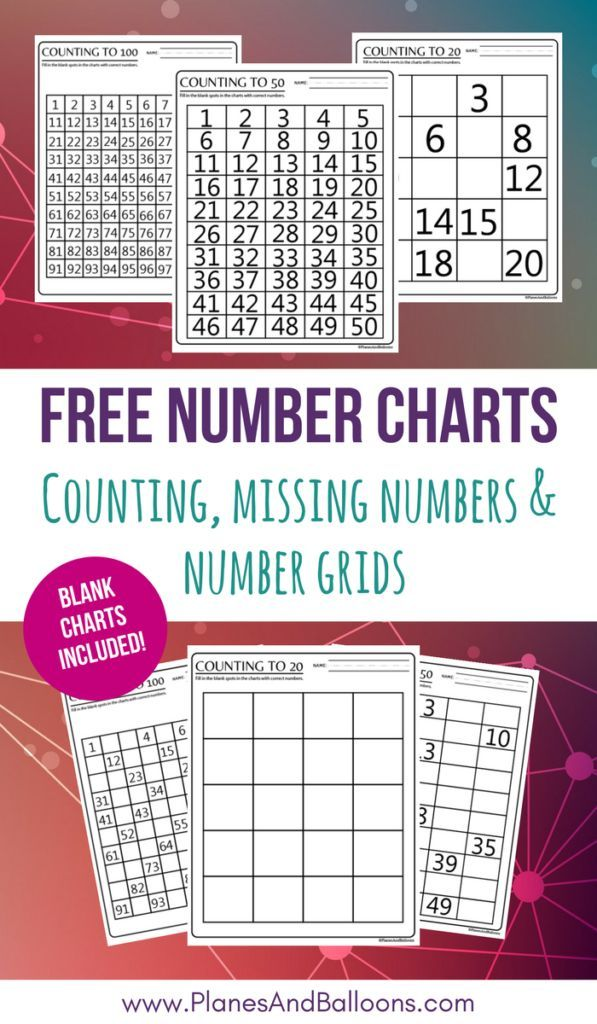 If you're working on counting to 100 with your little ones, don't miss these free printable number charts. These will help them with counting, skip counting, and more! :: www.thriftyhomeschoolers.com
