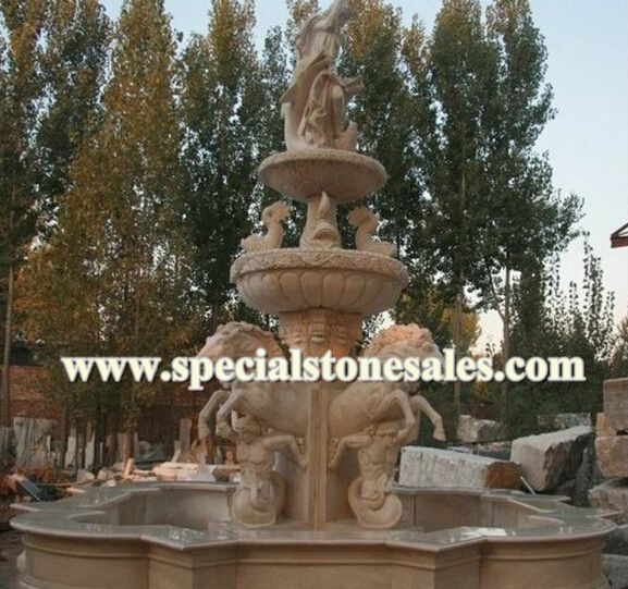 Sunset Red And Beige Marble Water Fountain, Diamter 550cm With Height 500cm