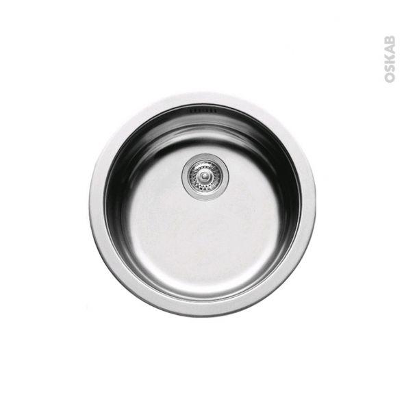 Evier De Cuisine Nera Inox Lisse 1 Cuve Ronde O45 Cm A Encastrer
