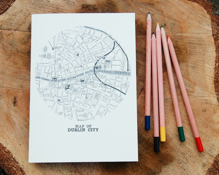 A5 notebook - vintage Map of Dublin City design for writing 1800s gifts under 5 maps Ireland gifts for friend Irish colleague