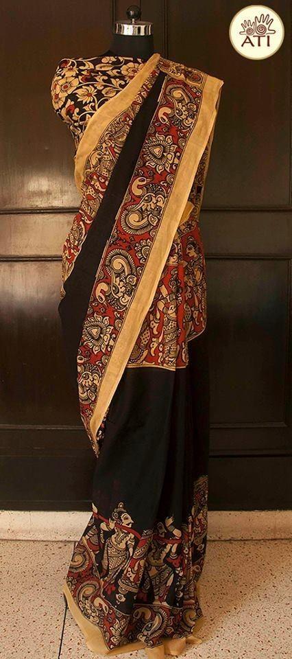 27a94cef371bd Intricately Hand Painted Kalamkari Saree in Pure Cotton with Kalamkari  Blouse Material