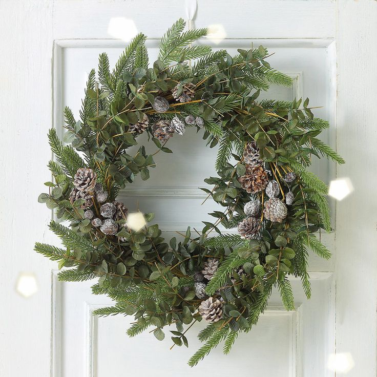 Image result for white company wreath - simpole foliage and cones