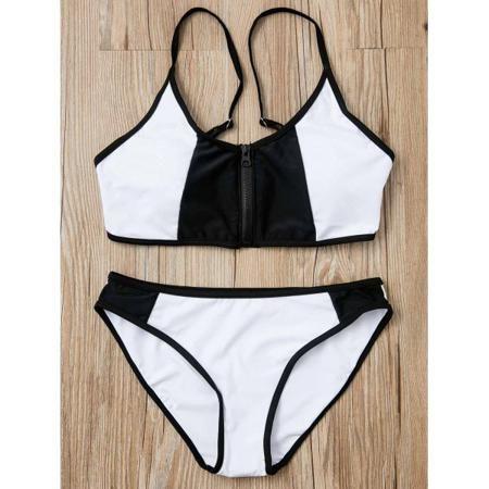 Stylish Black and White Spliced Zip Up Bra and Briefs Bikini Set For Women