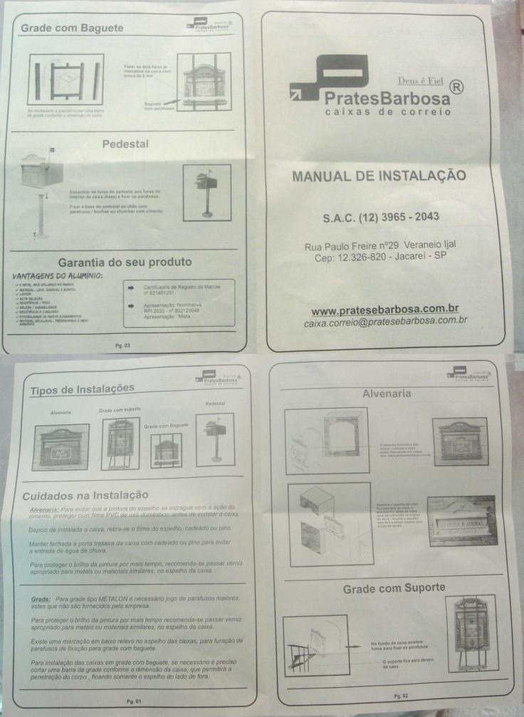 manual de instalação -  caixas de ferro