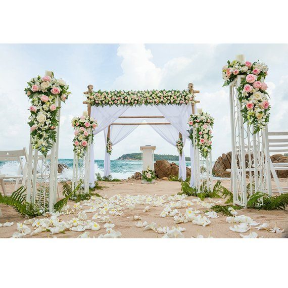 Romantic Boho Beach Wedding Backdrop Pink Ivory Flowers Curtain