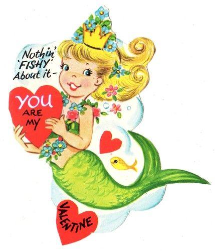 Vintage mermaid Valentine card...eeppp!!!!