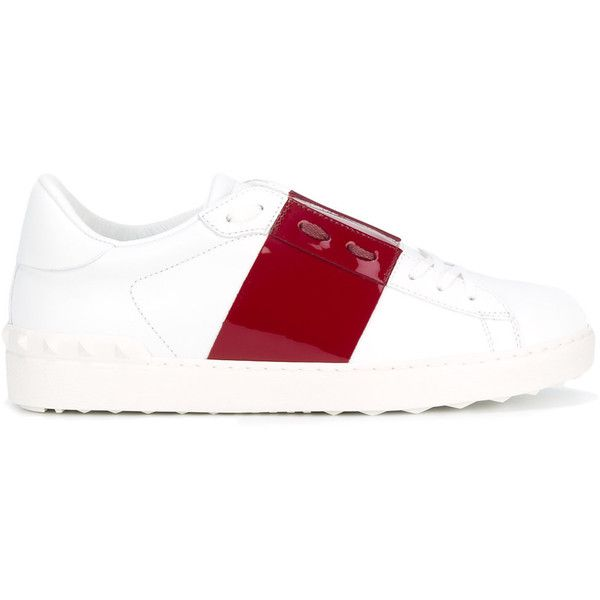 Valentino Garavani Leather Sneakers ($425) ❤ liked on Polyvore featuring men's fashion, men's shoes, men's sneakers, white, mens leather shoes, valentino mens shoes, mens white sneakers, valentino mens sneakers and mens leather sneakers