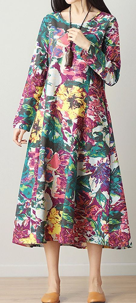 New Women loose fit plus size flower dress pocket tunic Bohemian Boho fashion #unbranded