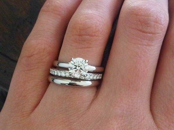 Two plain wedding rings with solitaire innovative ideas 2017