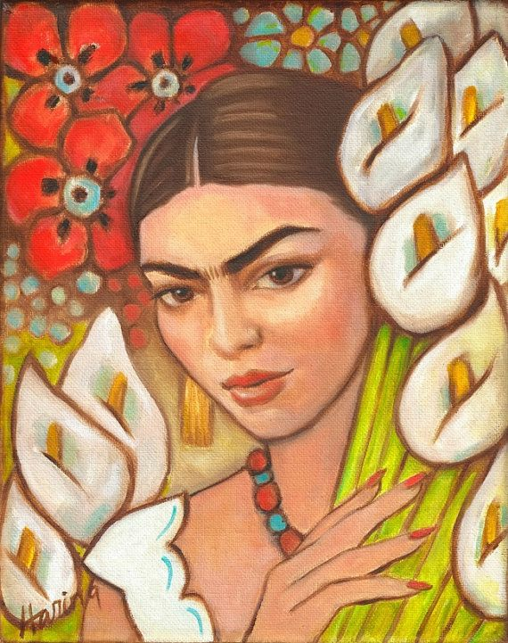 "50% off Frida Kahlo Among the Calla Lillies - Signed 8""x10"" Print Mexican Art Gift Large Decor wall art"