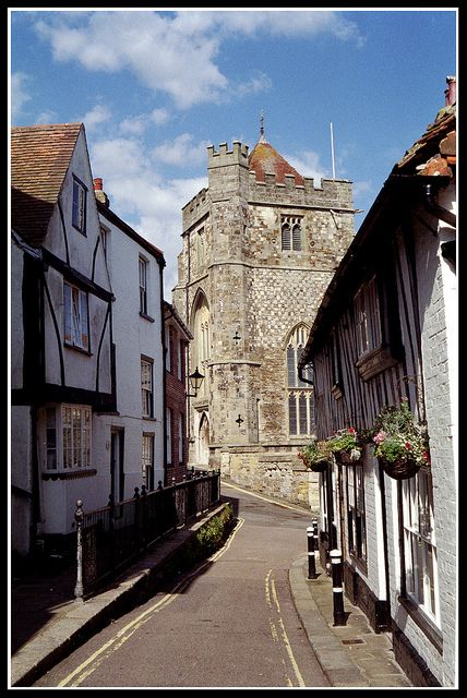Hastings in Sussex, UK by Howard Somerville with the remains of Hastings Castle built soon after 1066 by William of Normandy, I am talking rubbish that is the 14th century St Clement's Church not the Castle, derr!