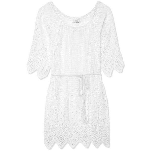 Miguelina Bridgette Crochet Caftan ($425) ❤ liked on Polyvore featuring tops, tunics, dresses, vestidos, caftan, white, white tunic, crochet tunic, white crochet tunic and kaftan tops