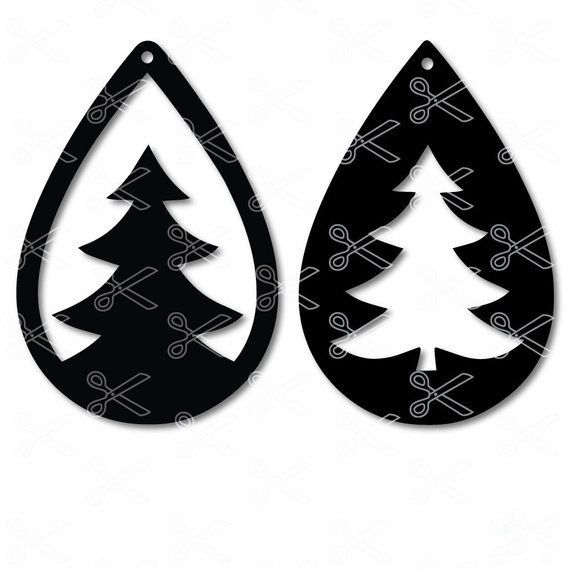 Download Christmas Tree TearDrop Earring SVG DXF | Mason jar diy ...