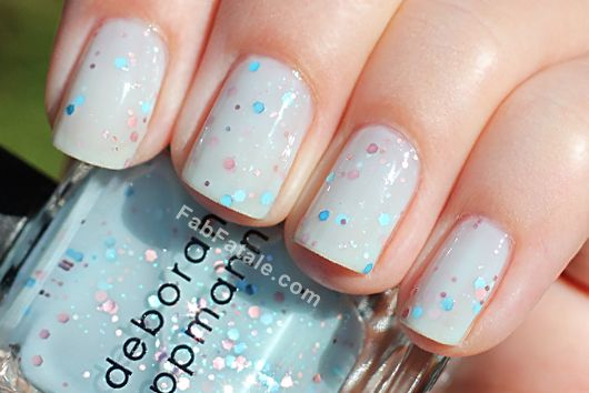 Deborah Lippmann Glitter In The Air Revlon Whimsical Dupe Comparison Mint Creme Sequin Glitter Nail Polish