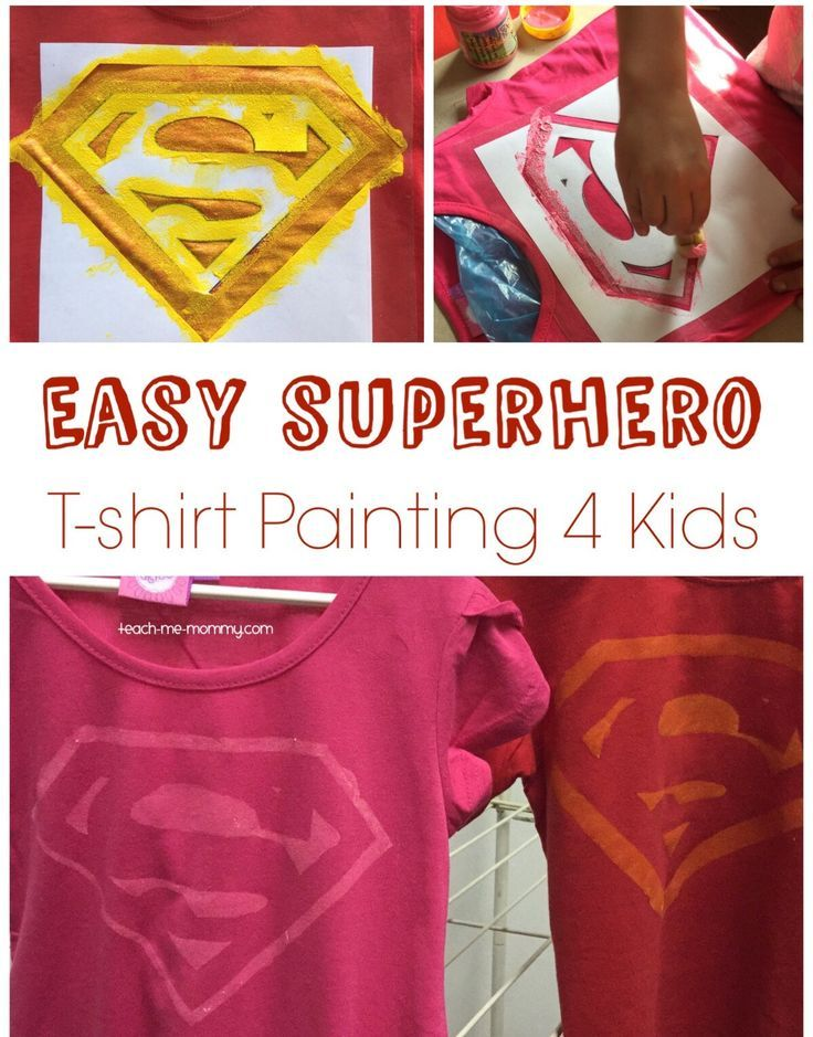 Easy Superhero T-Shirt Painting using a printed template and contact paper!