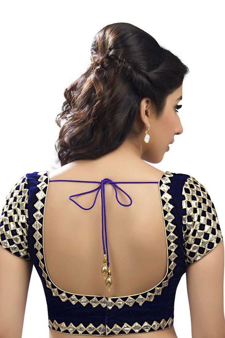 Ink #blue #velvet stunning fesive wear #blouse with back deep u neck -BL760