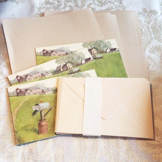 Hallmark Stationery Set / Vintage Writing Paper Cards and Envelopes