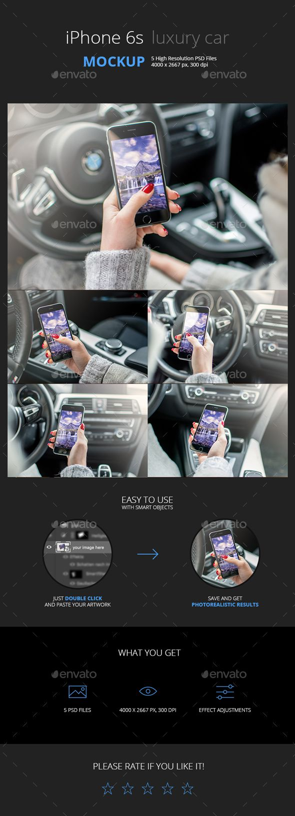 Phone in a luxury car mockup hands on
