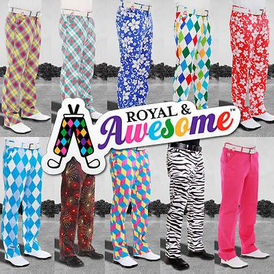Royal And Awesome Golf Trousers Trendy Golf Pants Loud Trendy Funky Awesome !