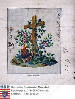 Handarbeiten, Stickmuster / rosenumranktes Kreuz, Schiffsanker, Buch und Herz