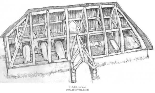 VIKING LONGHOUSE PLANS | House Design... Pay attention to the fact that, at least in the wintertime, people shared one half of the house with their lifestock... A practice which was still in use in northern german farmhouses, up to the 1950ies!
