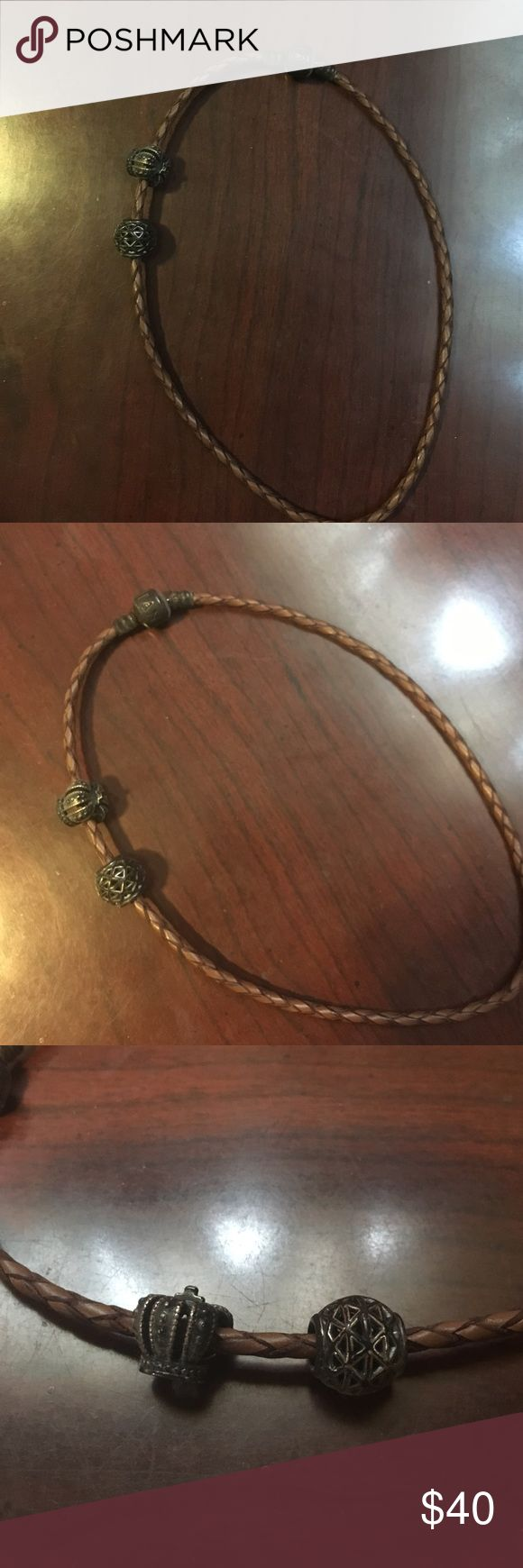 Pandora rope bracelet Pandora rope bracelet with two charms! Cute but I never bought more charms. Great condition! Will accept offers Pandora Jewelry Bracelets