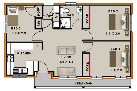 3 Bedroom Small Home Plan