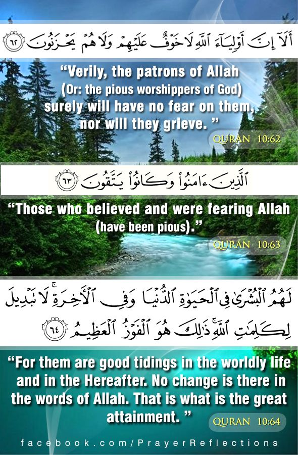 "Verses From Quran: ""Verily, the patrons of Allah (Or: the pious worshippers of God) surely will have no fear on them, nor will they grieve."" (10:62) Those who believed and were fearing Allah"".(have been pious) (10:63) For them are good tidings in the worldly life and in the Hereafter. No change is there in the words of Allah. That is what is the great attainmen."" (10:64) (Dear Lord help us to be among them.)  ألا إن أولياء الله لا خوف عليهم ولا هم يحزنون - الذين آمنوا وكانوا يتقون  .. سورة…"