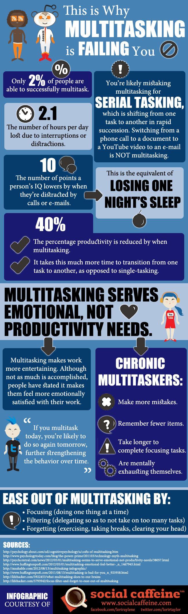 Por qué no te funciona la multitarea #infografia #infographic #productividad