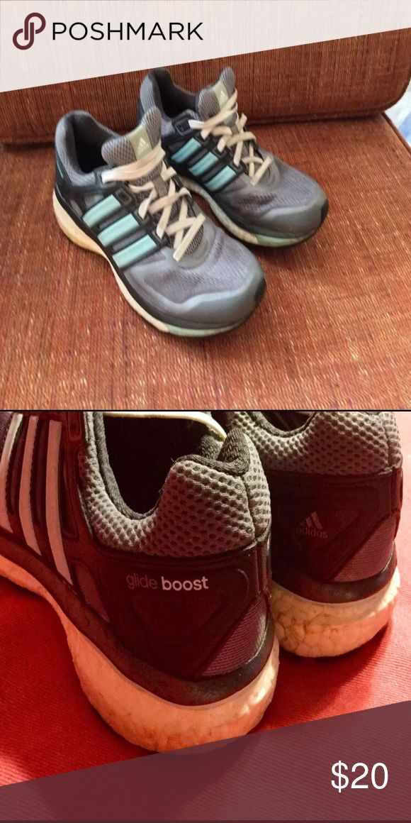 Adidas Running Sneaker Size 7 adidas glide boost grey running sneakers with  teal stripes. Good condition. adidas Shoes Sneakers