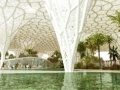 the Manama Urban Oasis designed by INFLUX_STUDIO located in Bahrain   this solar canopy provides active solar and passive cooling