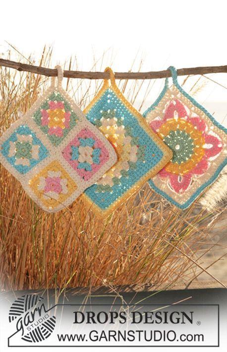 """DROPS 120-59 - Agarradores de ollas DROPS en ganchillo / crochet con aplicaciones en """"Paris"""". Diseño DROPS: Patrón No. W-372 + W-373 + W-376 - Free pattern by DROPS Design"""
