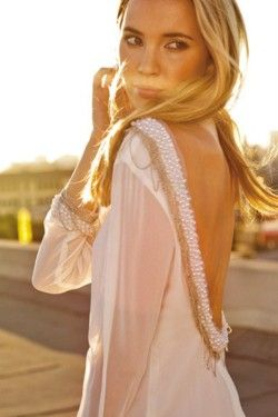 love open back tops: Fashion, Style, Backless Dresses, Shirts, Pearls, Beads, The Dresses, Open Back, Back Details