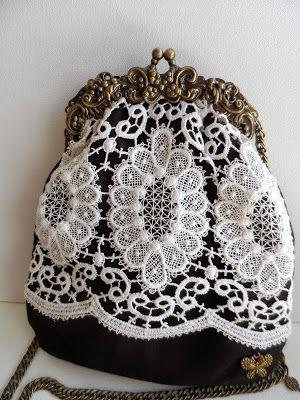 Lolitasalavintage: Bolso boquilla victorina con encaje guipur recuperado by LolitaSalá Vintage