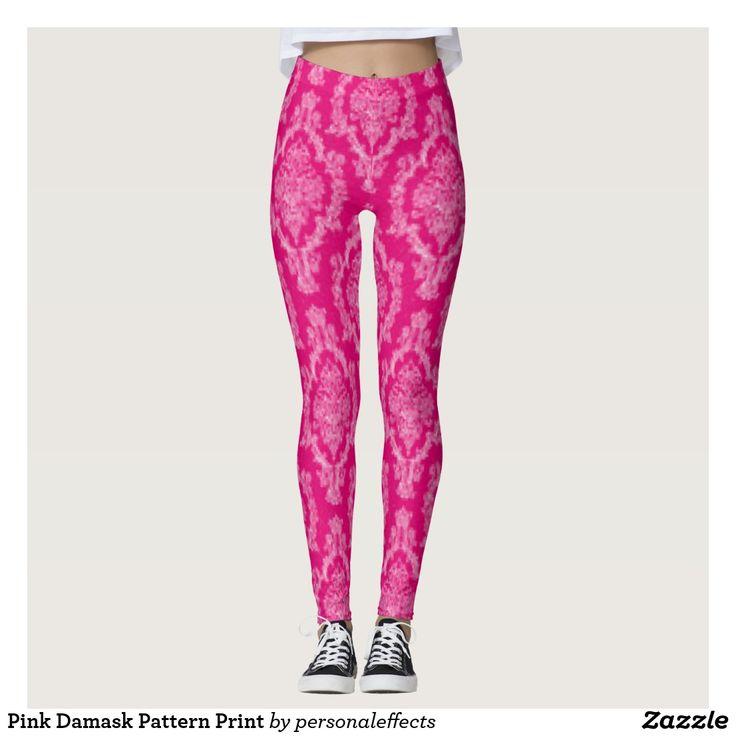 Pink Damask Pattern Print Leggings - Pink & Black Damask Pattern Print Design https://www.zazzle.com/z/yaq49