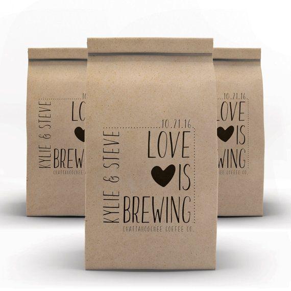 Coffee Bags, Wedding Favor, Coffee Favors, Coffee Cups, Kraft Favor Bags, Coffee, Tin Tie Bags, Wedding Welcome Bags