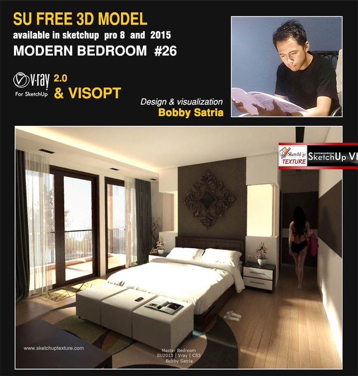 Free Sketchup Model Modern Bedroom 26 Vray Interior Visopt Designed Modeled