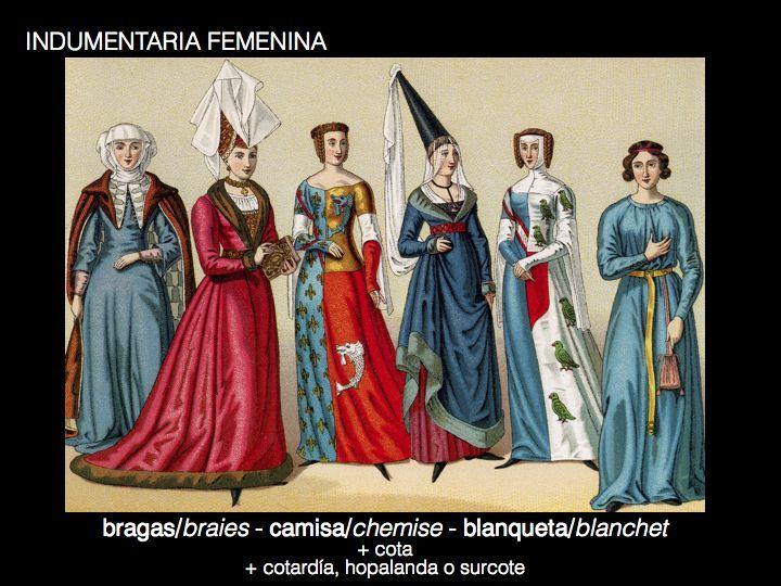 En la edad media, las mujeres copiaban los estilos de ropa de los hombres y adaptaban las prendas para que encajaran en la forma femenina. las mujeres llevaban una vestimenta mas refinada, como faldas acampanadas, tan largas que barrían el suelo.