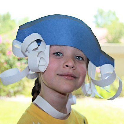 George Washington Tri-Corner Hat with Paper Hair