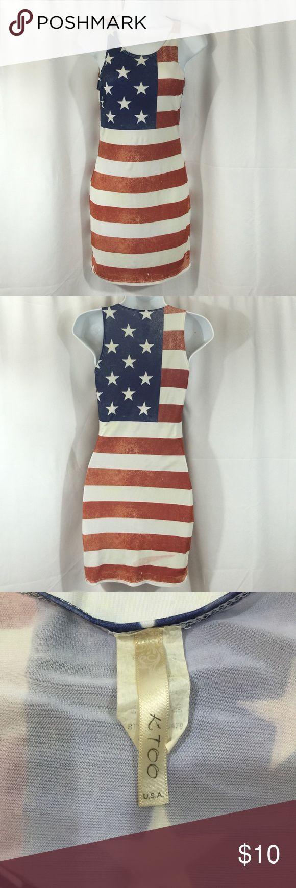 KTOO SZ Sm 4th of July American Flag Tank Dress KTOO SZ Sm American Flag Tank Dress , Perfect for 4th of July/ Has Slight Discoloration shown on last pic. KTOO Dresses Mini