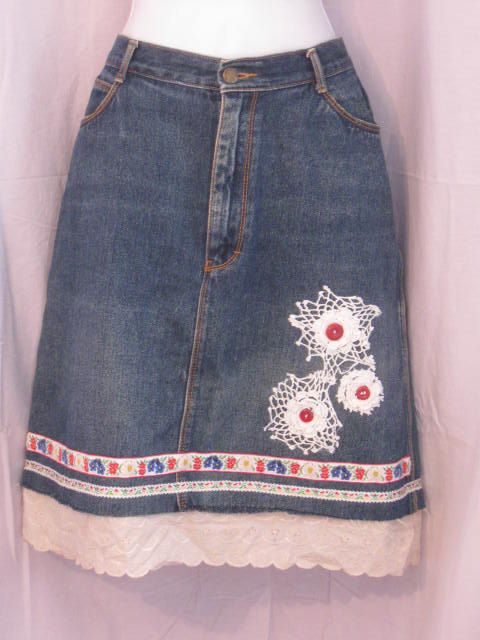 Ladies Upcycled Denim Skirt Lace Floral Applique by HappyRagz