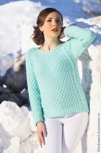 Свитер. Бирюза. - бирюзовый,свитер,бирюзовый свитер,женский свитер,красивый свитер