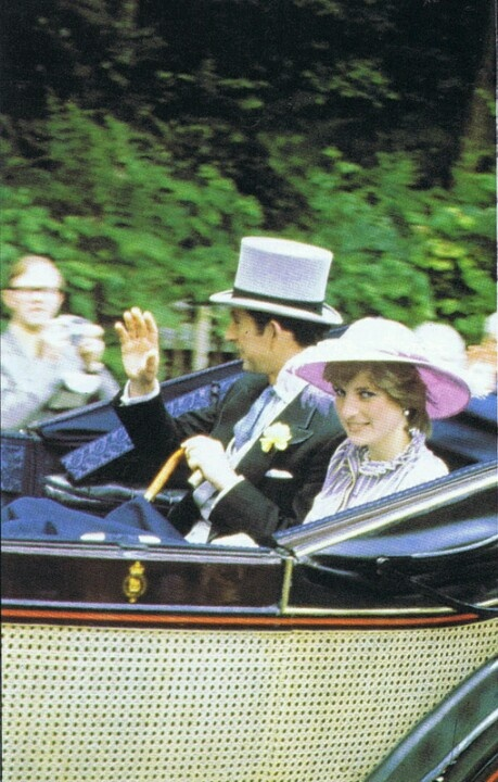 244) June 16, 1981 - the Royal Ascot is a five-day meeting starting on a Tuesday and each day begins with the Royal Procession - the arrival of The Queen and the Royal party in horse-drawn landaus, which parade along the track in front of the race-goers. This was Lady Diana's first attendance.
