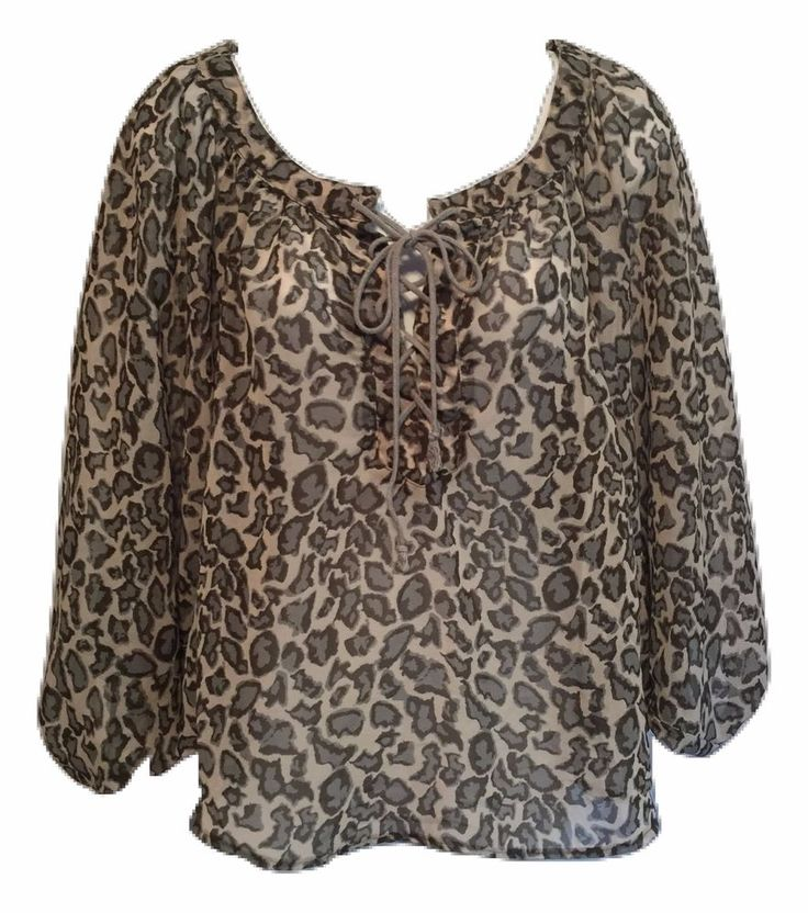 Leopard Print Blouse Top Size S Sheer Animal Print Batwing Rory Beca Women Shirt #RoryBeca #Blouse